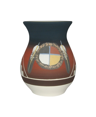 "Fat Belly Vase -lg ""Medicine Wheel"""